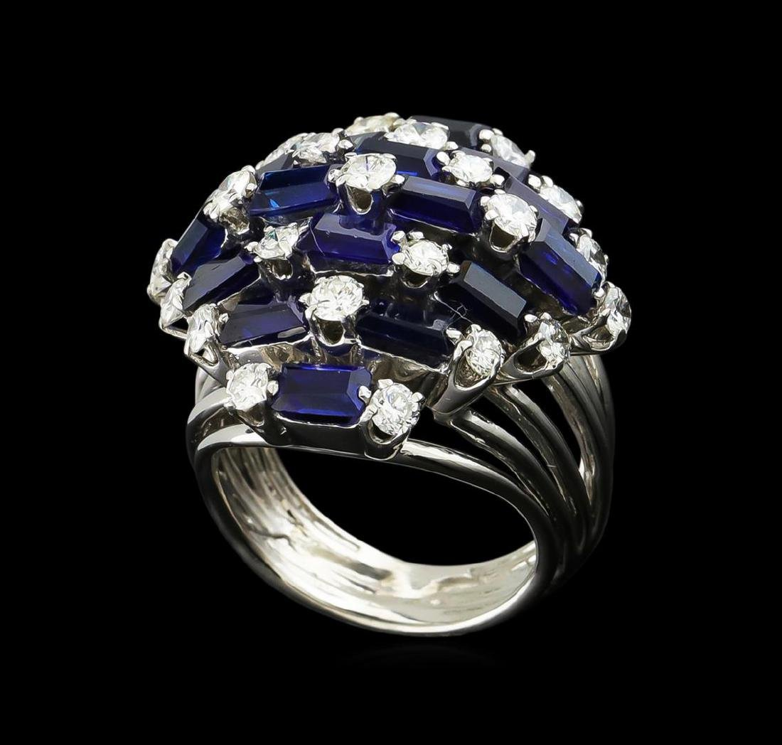 5.00 ctw Sapphire and Diamond Ring - 14KT White Gold - 4