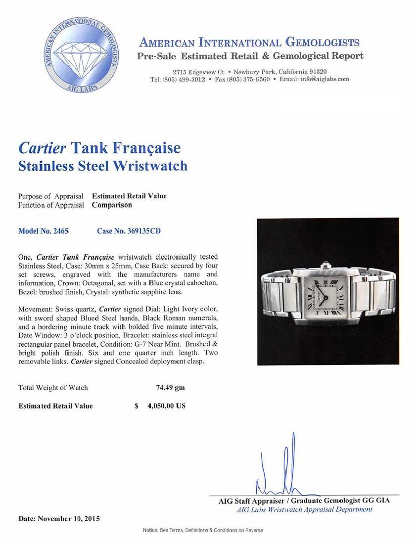 Cartier Stainless Steel Tank Francaise Watch - 5