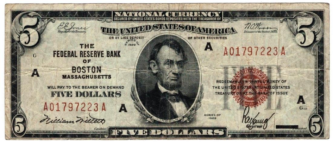 1929 $5 Boston MA Federal Resere Bank Note