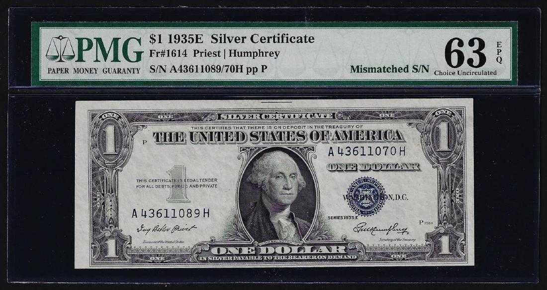 1935e 1 Silver Certificate Note Mismatched Serial