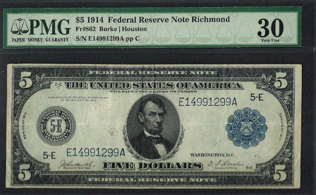 1914 $5 Federal Reserve Note Richmond Fr.862 PMG Very