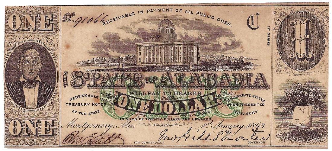1863 $1 Alabama Confederate Note