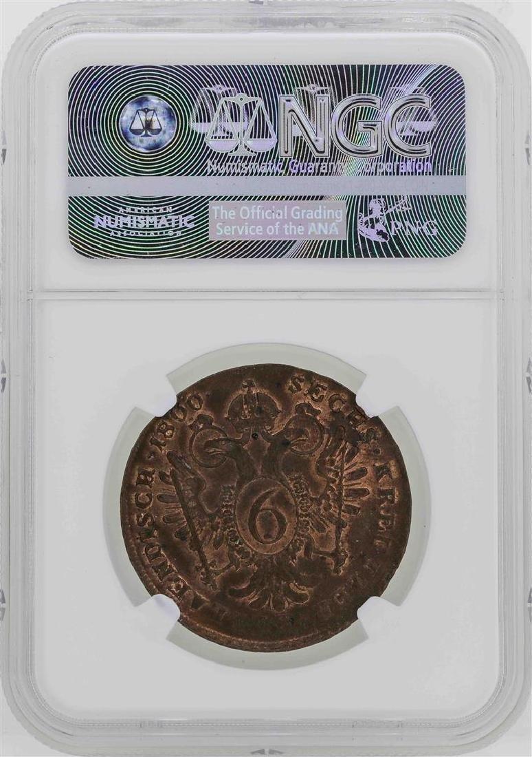 1800-B Austria 6 Kreuzer Coin NGC MS63BN - 2