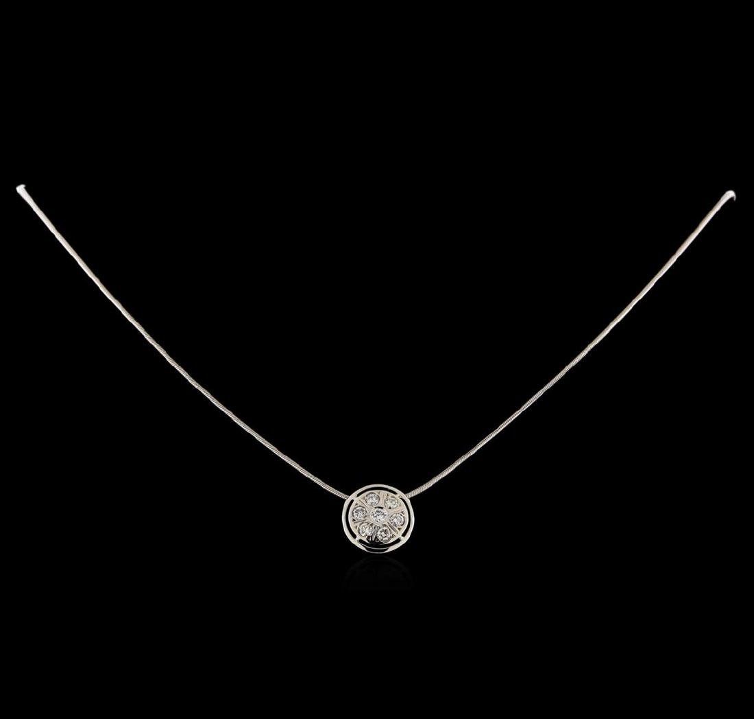 0.35 ctw Diamond Pendant with Chain - 14KT White Gold