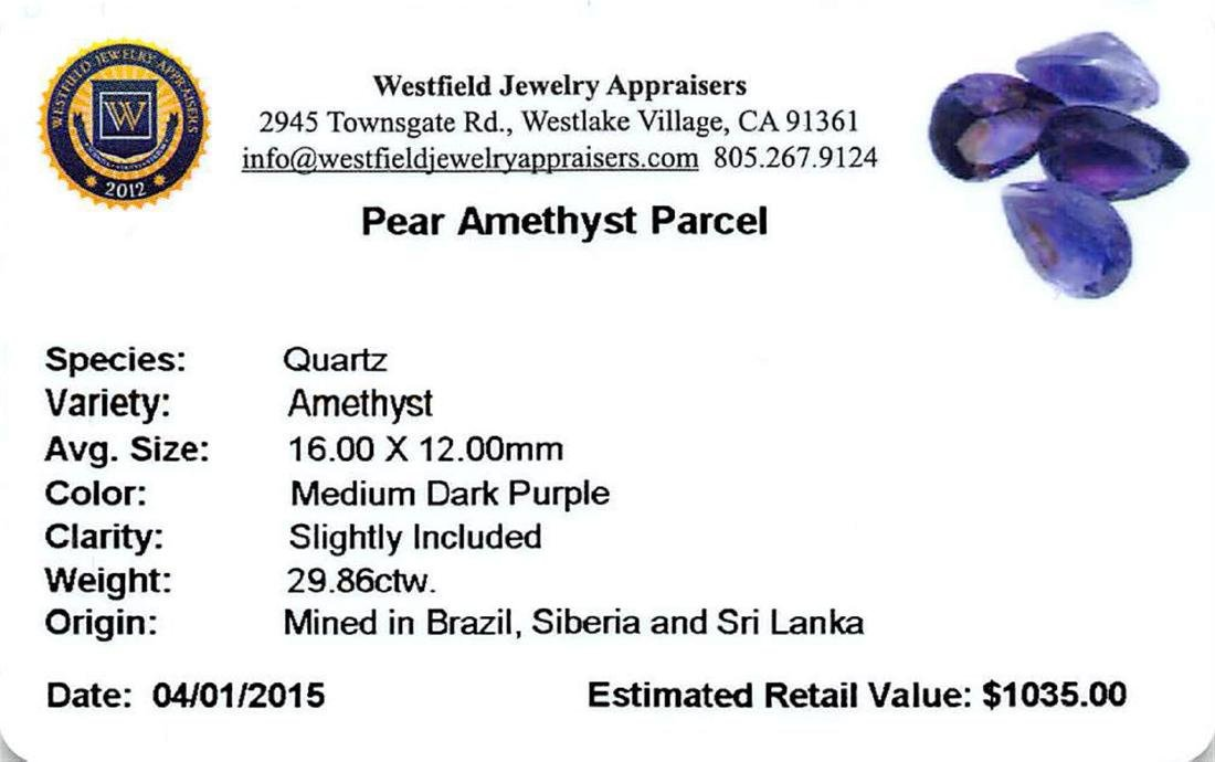 29.86 ctw Pear Mixed Amethyst Parcel - 2