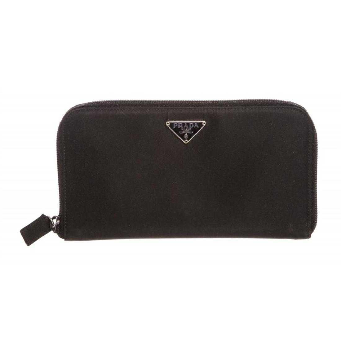 b8f881f3b96fbb Prada Black Nylon Leather Zipper Wallet