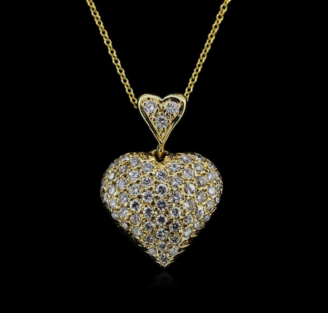 0.95 ctw Diamond Heart Pendant With Chain - 14KT Yellow