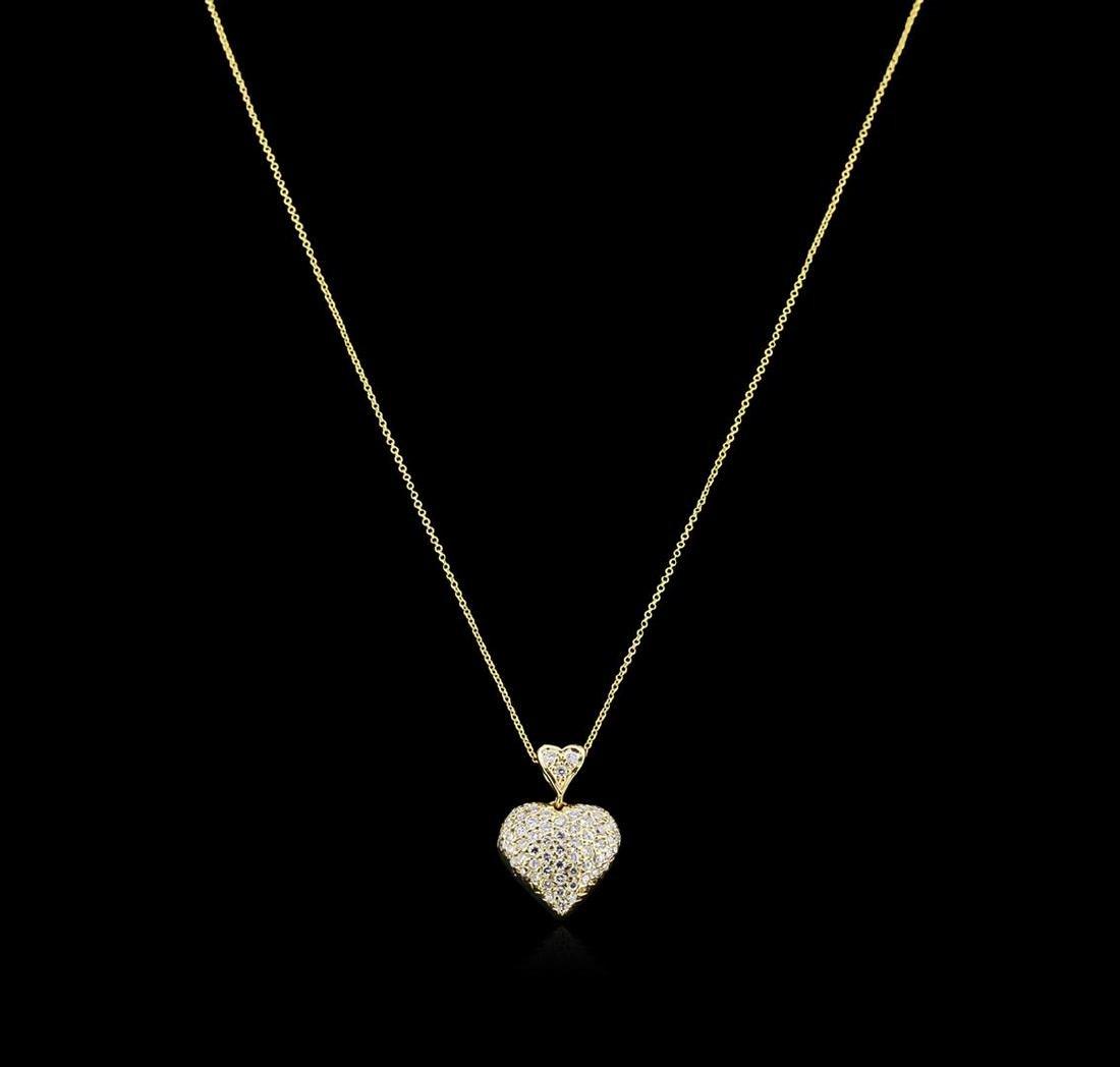 0.95 ctw Diamond Heart Pendant With Chain - 14KT Yellow - 2