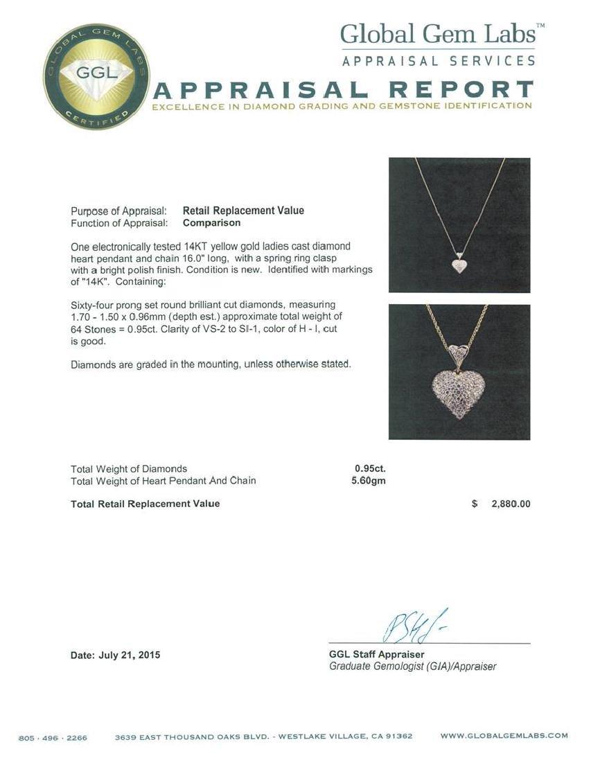 0.95 ctw Diamond Heart Pendant With Chain - 14KT Yellow - 3