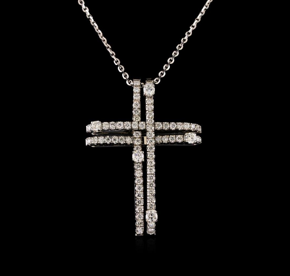 14KT White Gold 0.93 ctw Diamond Cross Pendant With
