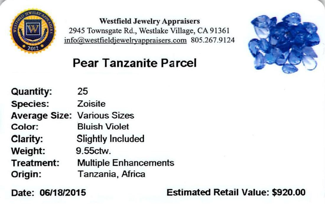9.55 ctw Pear Mixed Tanzanite Parcel - 2