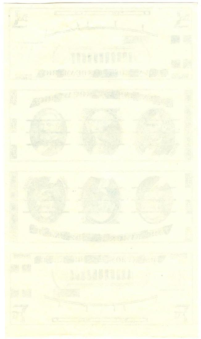 U.S. Giori Test Banknote Uncut Sheet of 4 - 2