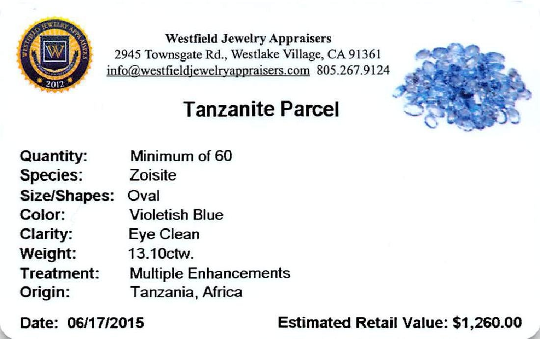 13.1 ctw Oval Mixed Tanzanite Parcel - 2