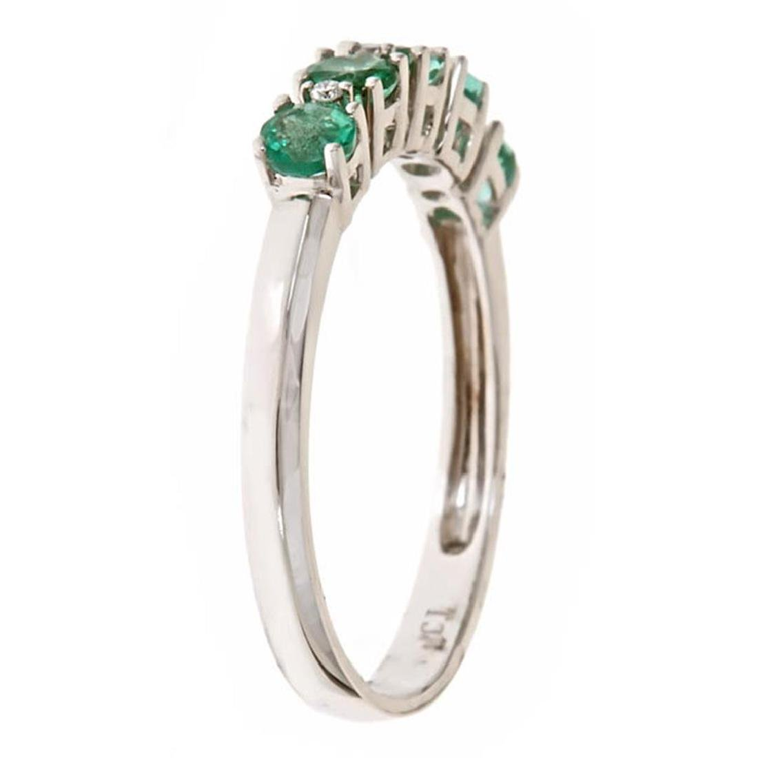 0.62 ctw Emerald and Diamond Ring - 14KT Yellow Gold - 2