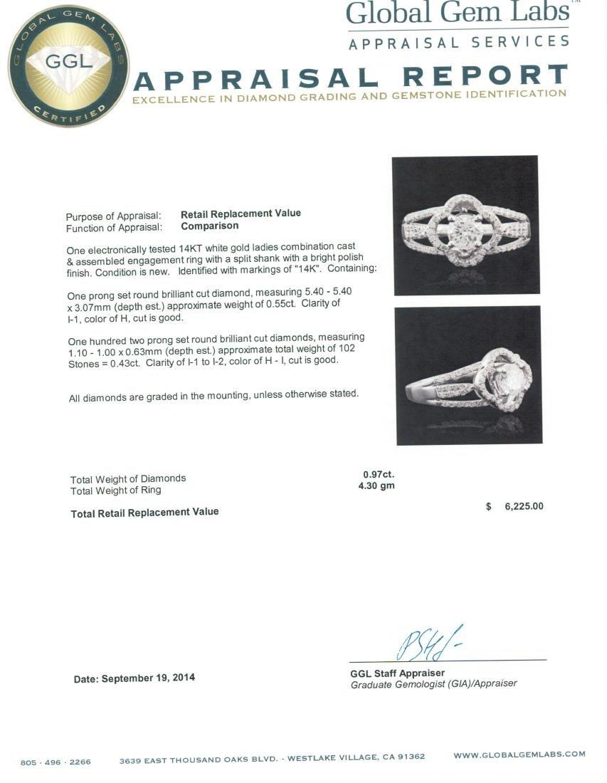 14KT White Gold 0.97 ctw Diamond Ring - 5