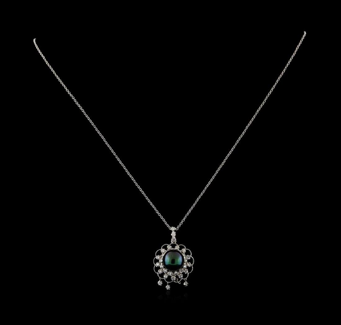 Pearl and Diamond Pendant With Chain - 14KT White Gold - 2