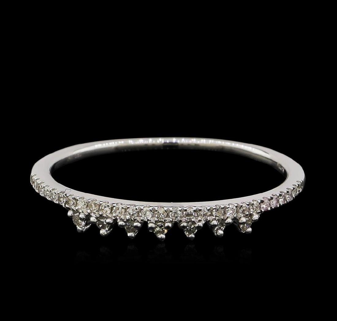 0.1 ctw Diamond Ring - 14KT White Gold - 2