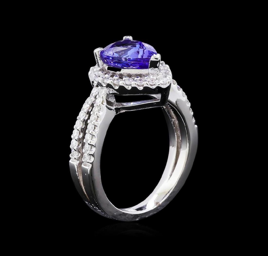 1.97 ctw Tanzanite and Diamond Ring - 14KT White Gold - 4