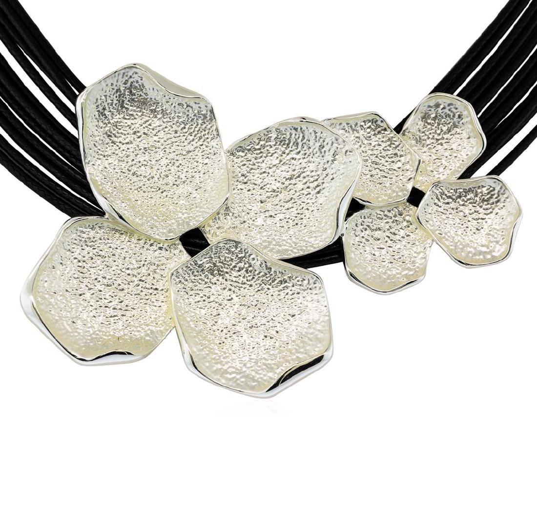 Petal Twin Pendant Multi Strand Necklace - Rhodium