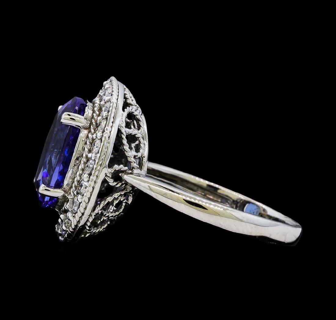4.18 ctw Tanzanite and Diamond Ring - 14KT White Gold - 3