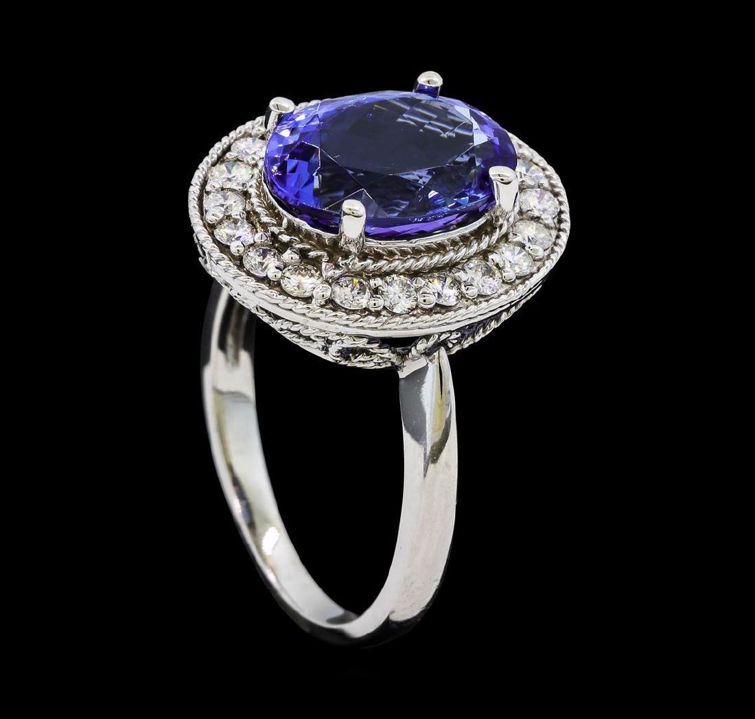 4.18 ctw Tanzanite and Diamond Ring - 14KT White Gold - 4