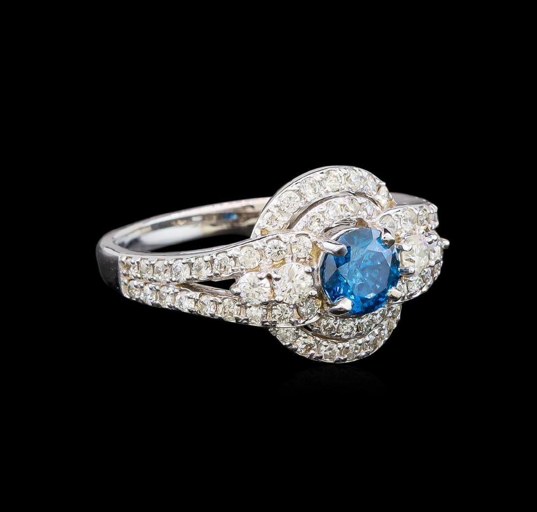 14KT White Gold 1.29 ctw Fancy Blue Diamond Ring