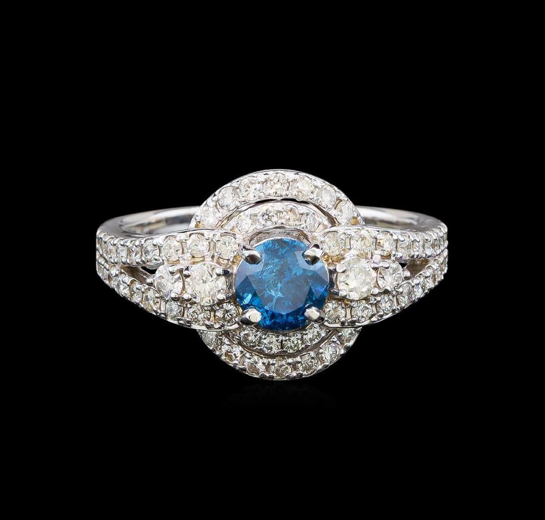 14KT White Gold 1.29 ctw Fancy Blue Diamond Ring - 2