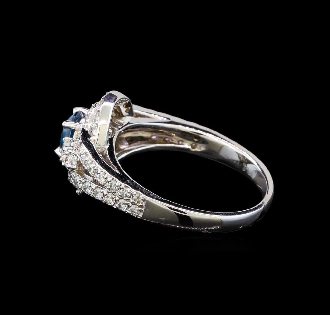 14KT White Gold 1.29 ctw Fancy Blue Diamond Ring - 3