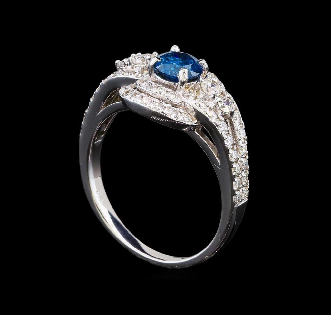 14KT White Gold 1.29 ctw Fancy Blue Diamond Ring - 4