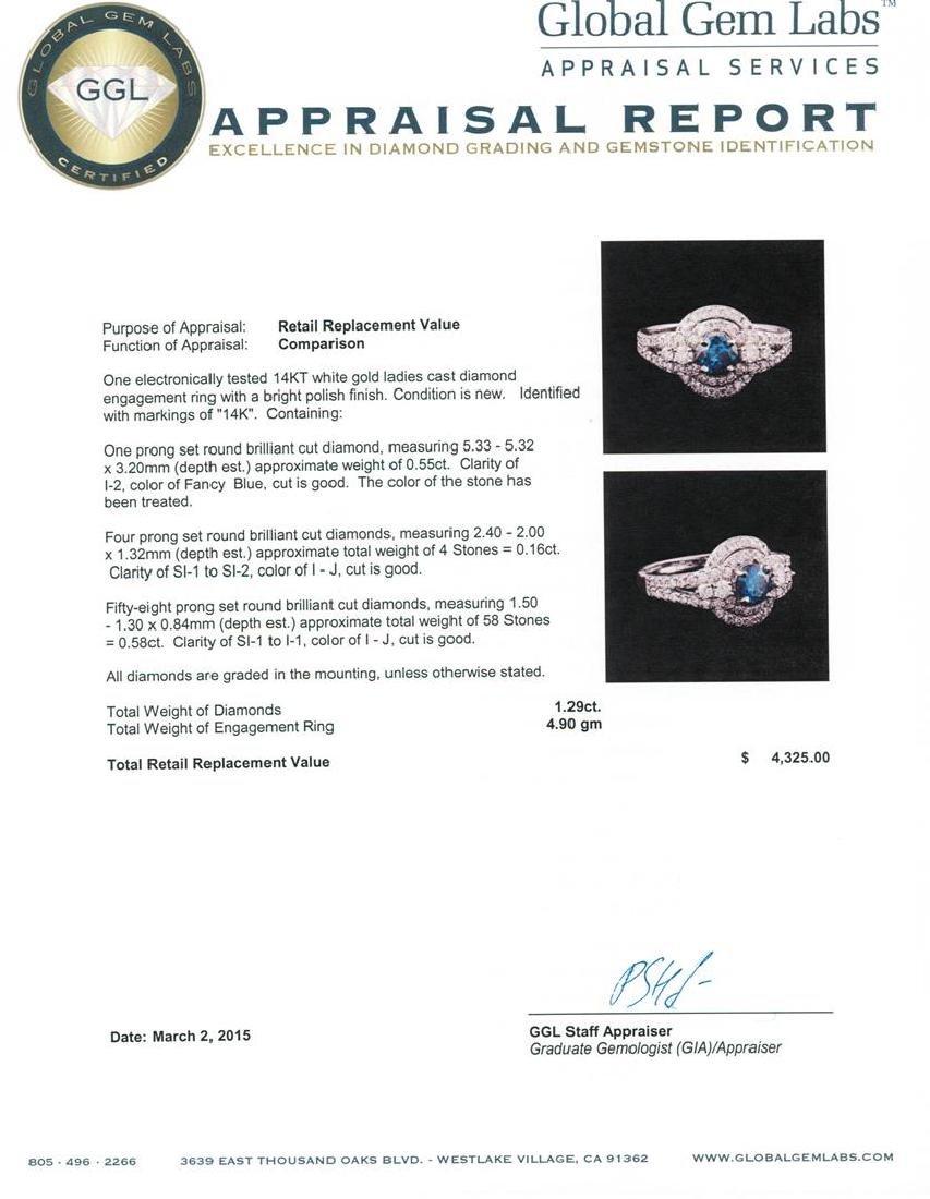 14KT White Gold 1.29 ctw Fancy Blue Diamond Ring - 5