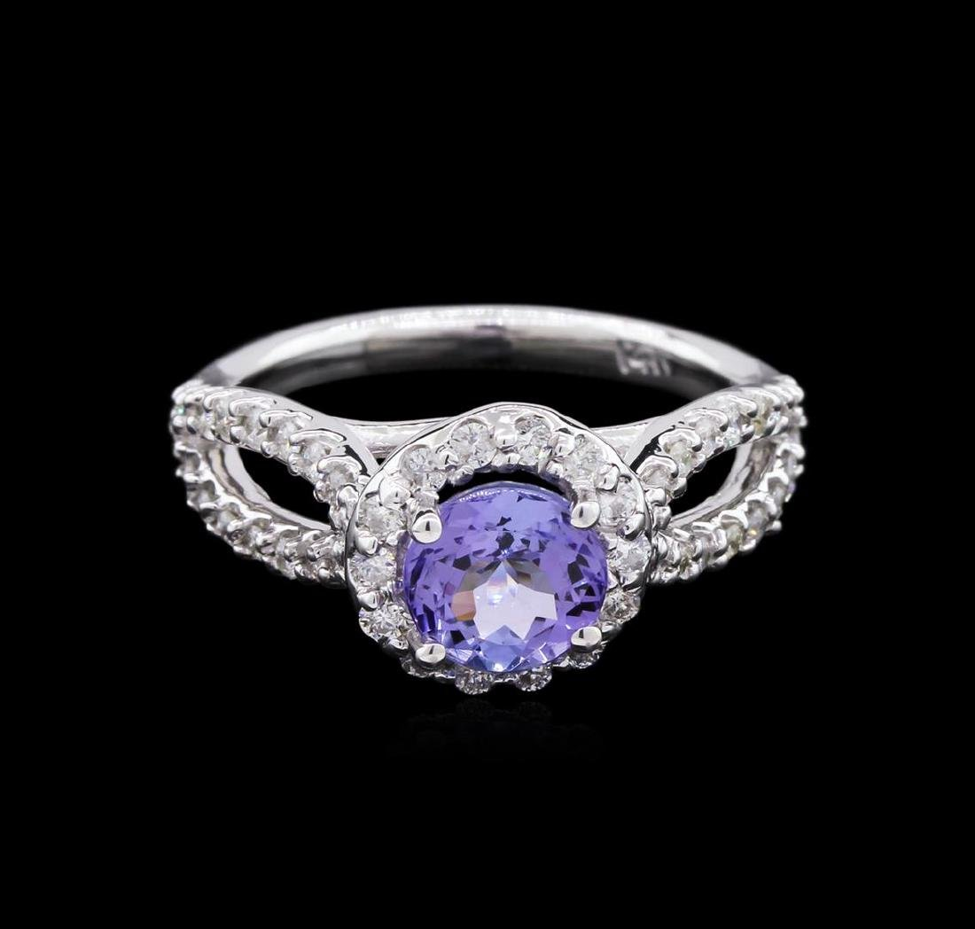 1.22 ctw Tanzanite and Diamond Ring - 14KT White Gold - 2