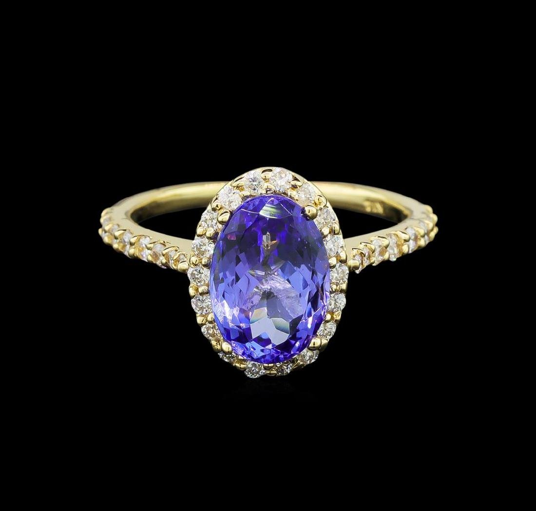 2.86 ctw Tanzanite and Diamond Ring - 14KT Yellow Gold - 2