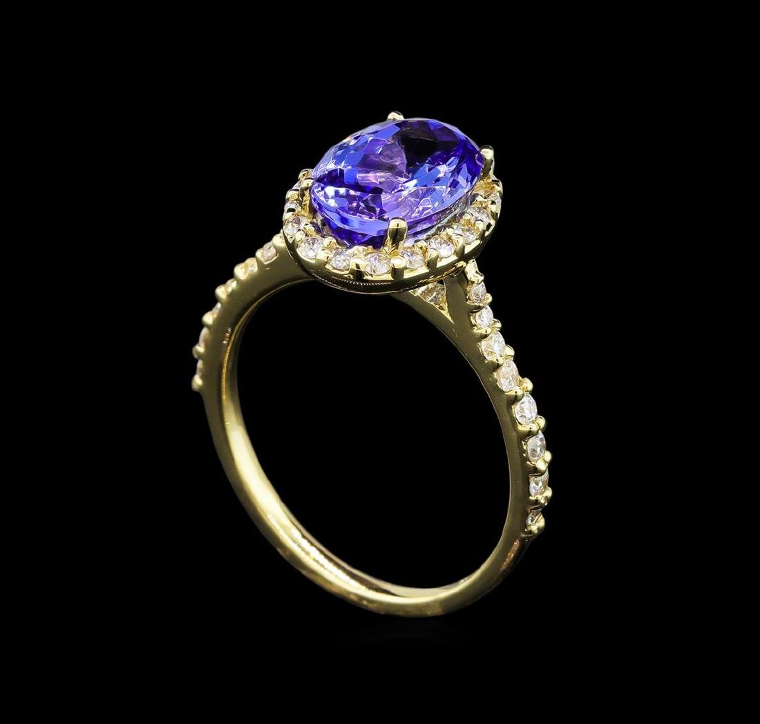 2.86 ctw Tanzanite and Diamond Ring - 14KT Yellow Gold - 4