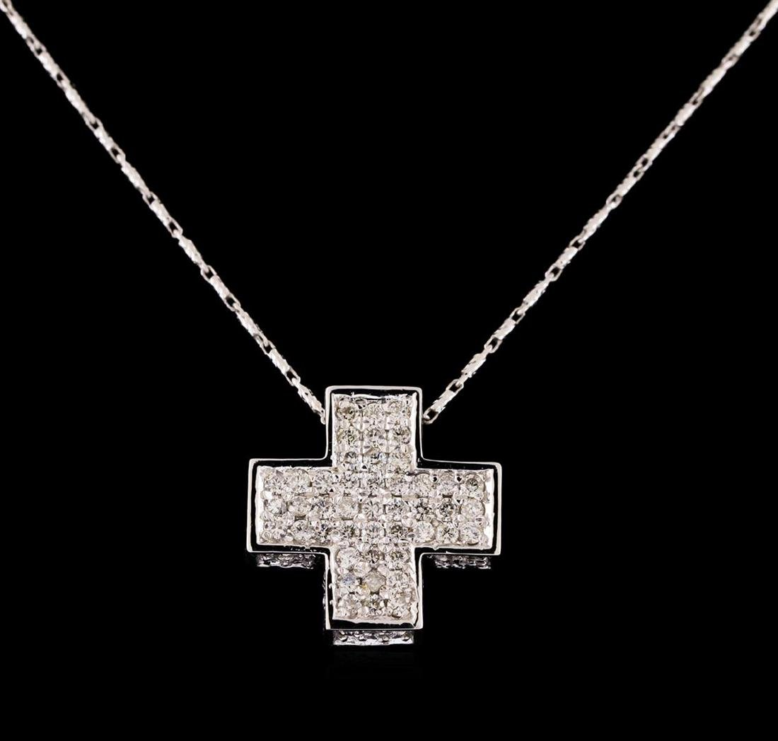 14KT White Gold 1.67 ctw Diamond Pendant With Chain