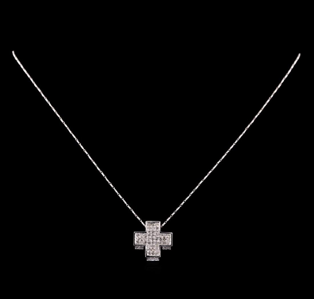14KT White Gold 1.67 ctw Diamond Pendant With Chain - 2