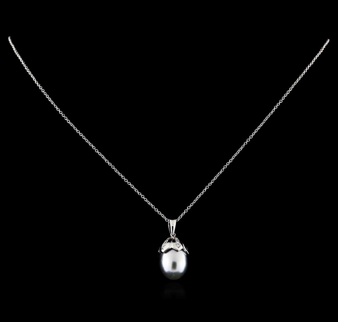 0.27 ctw Pearl and Diamond Pendant With Chain - 14KT - 2