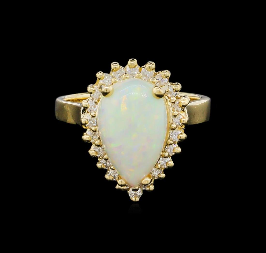 1.00 ctw Opal and Diamond Ring - 14KT Yellow Gold - 2