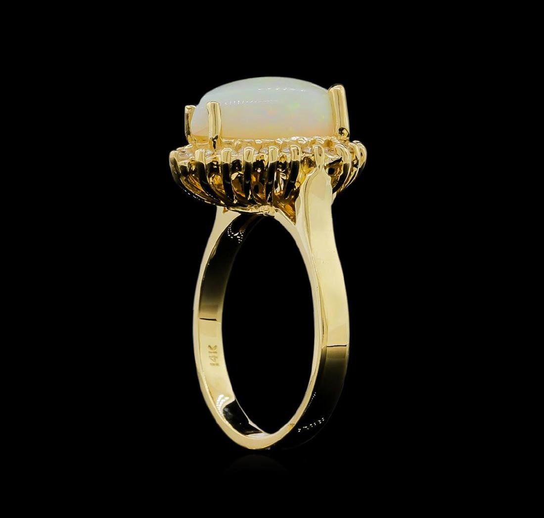 1.00 ctw Opal and Diamond Ring - 14KT Yellow Gold - 4