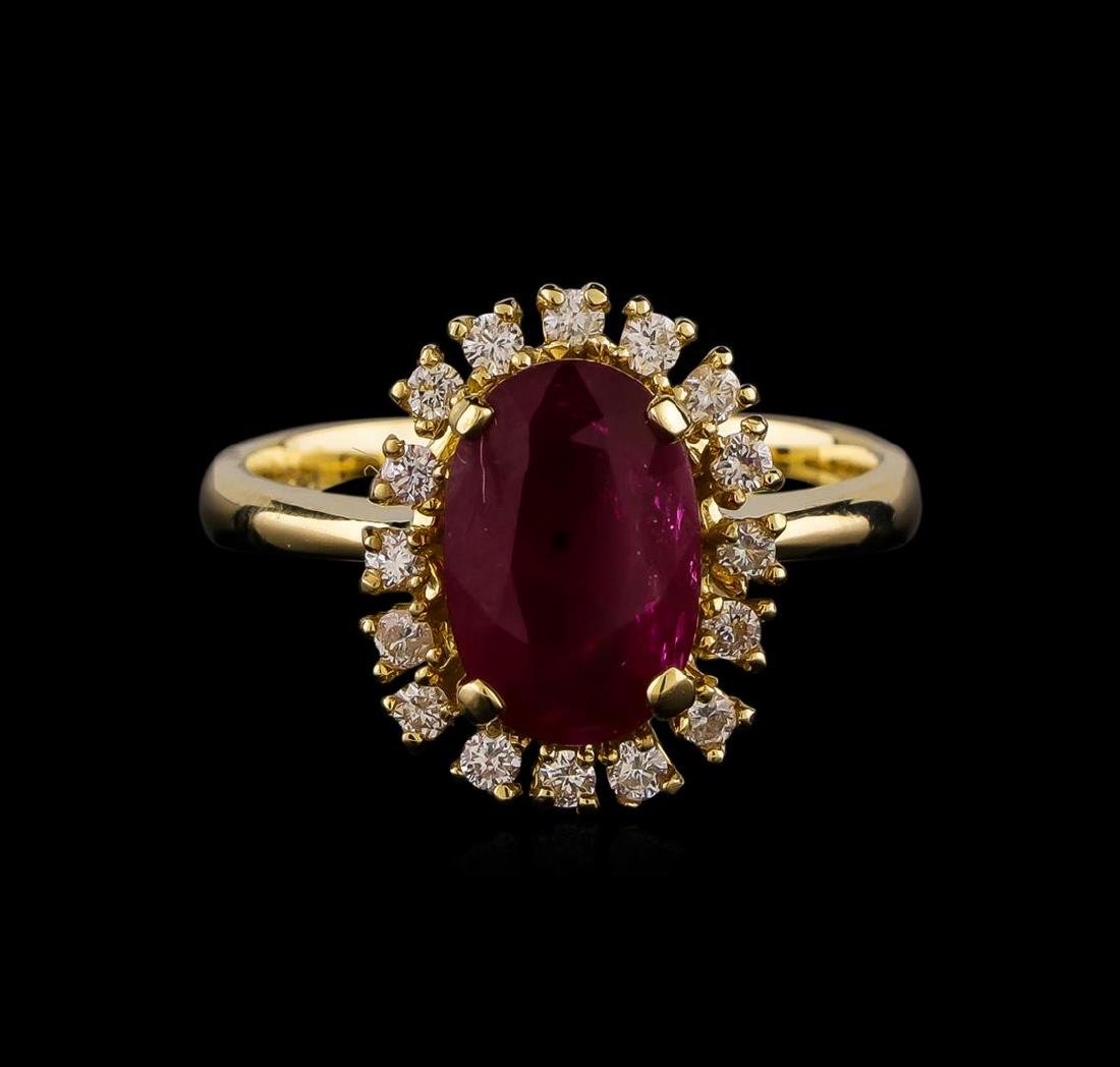 2.49 ctw Ruby and Diamond Ring - 14KT Yellow Gold - 2