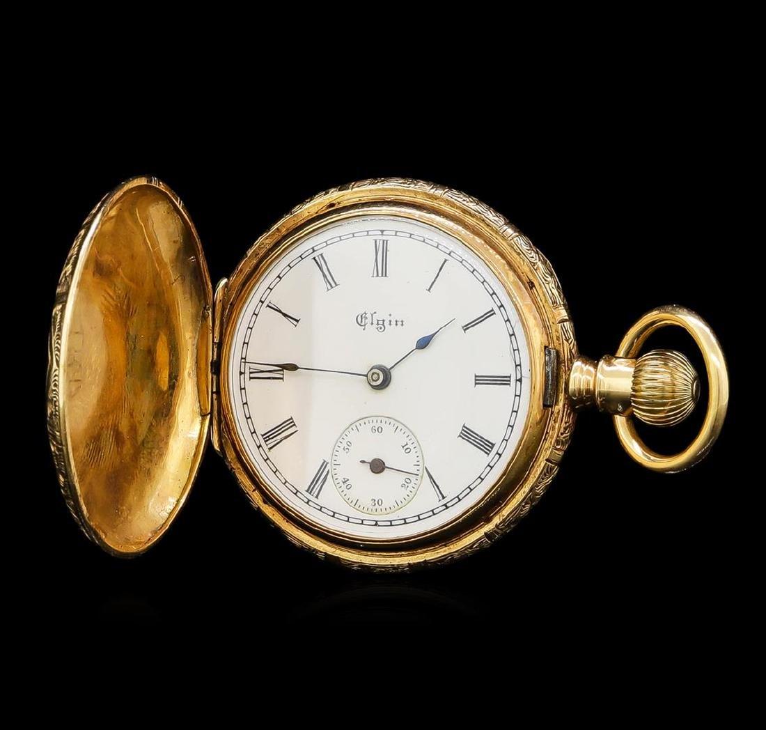 Elgin 14KT Yellow Gold Full Hunter Antique Pocket Watch - 3