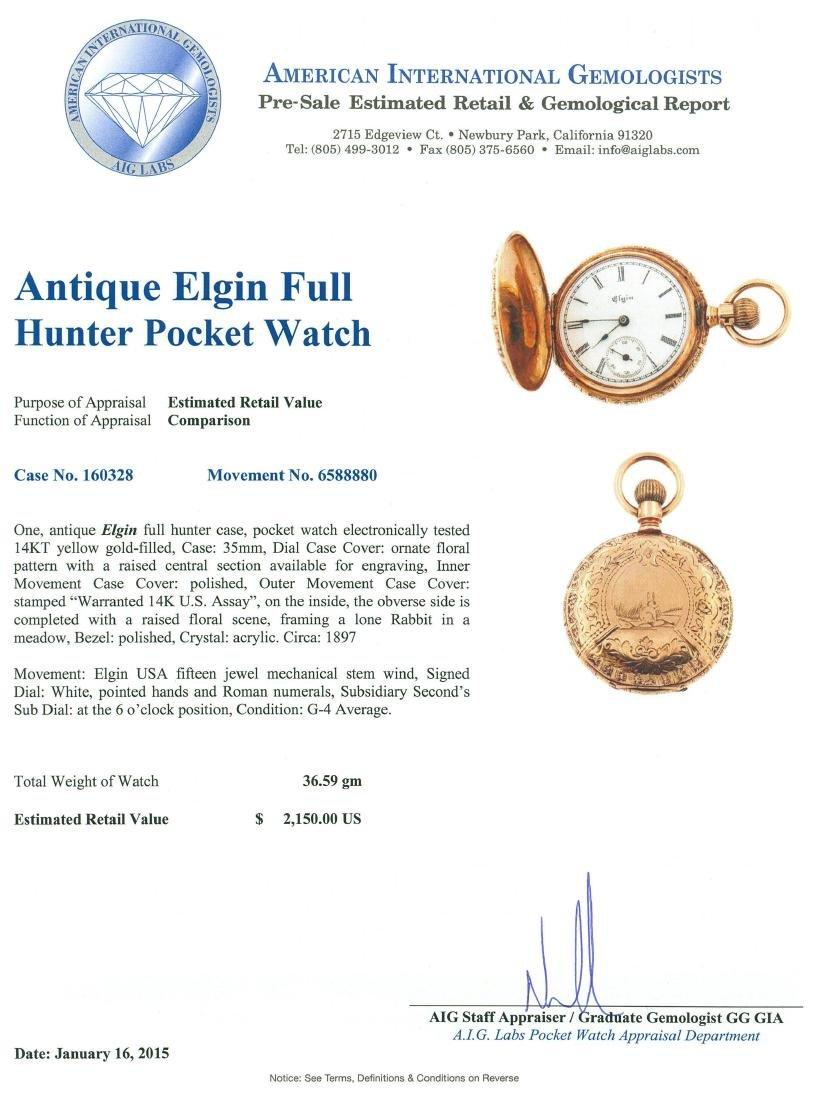 Elgin 14KT Yellow Gold Full Hunter Antique Pocket Watch - 6