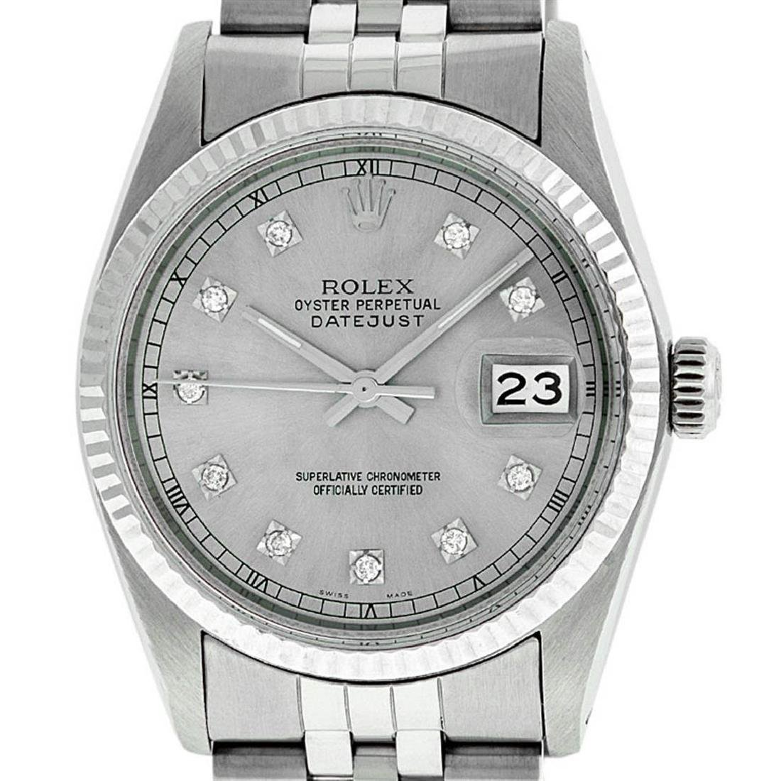 Rolex Mens Stainless Steel 36MM Slate Grey Diamond