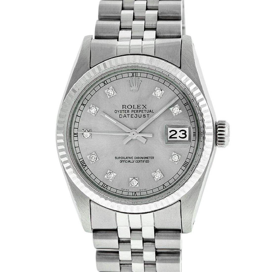 Rolex Mens Stainless Steel 36MM Slate Grey Diamond - 2