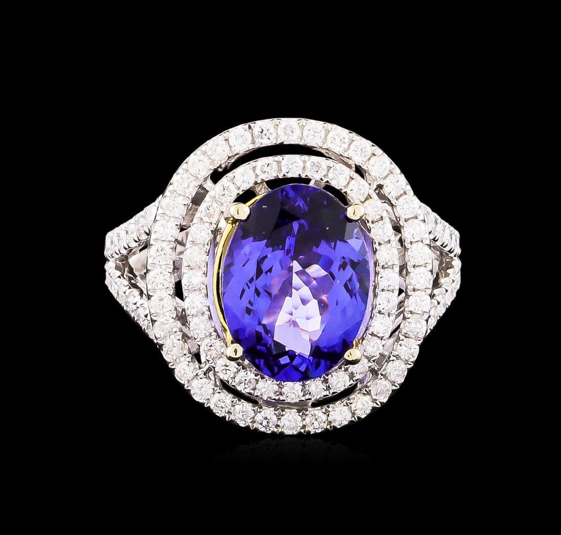 14KT Two-Tone 4.50 ctw Tanzanite and Diamond Ring - 2