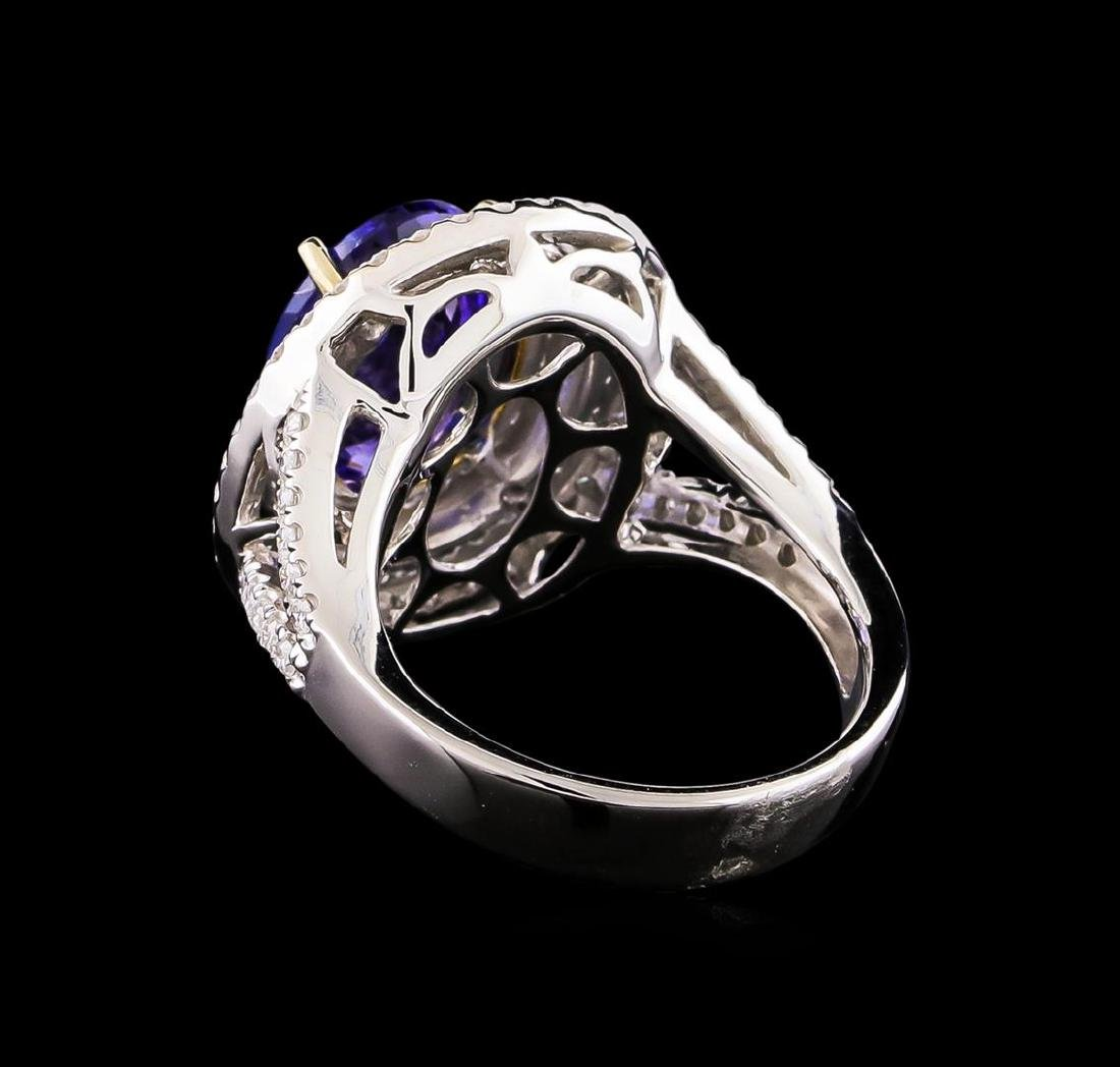 14KT Two-Tone 4.50 ctw Tanzanite and Diamond Ring - 3
