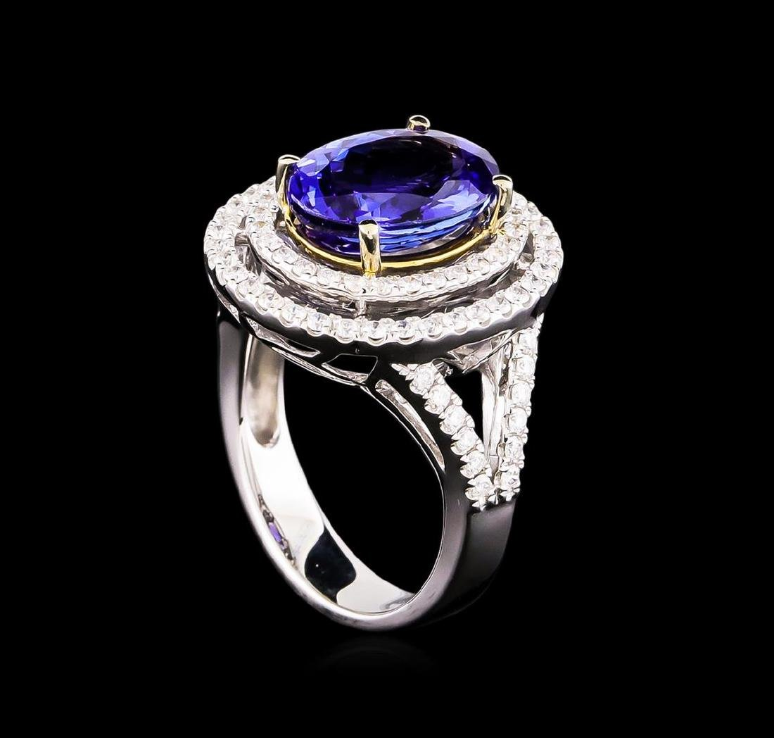 14KT Two-Tone 4.50 ctw Tanzanite and Diamond Ring - 4