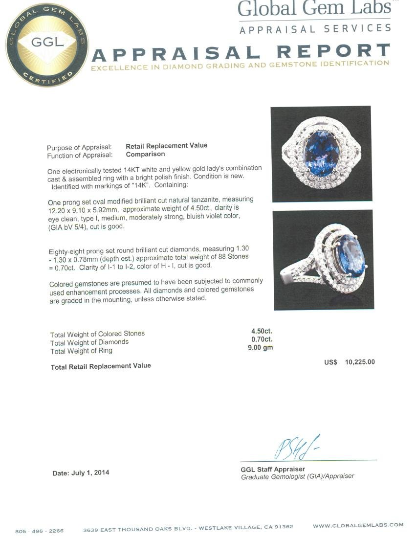 14KT Two-Tone 4.50 ctw Tanzanite and Diamond Ring - 5