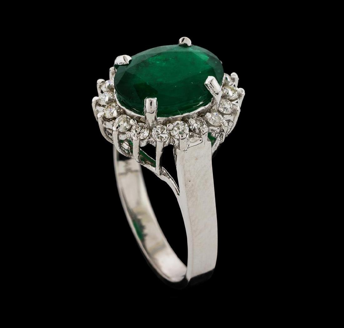 3.27 ctw Emerald and Diamond Ring - 14KT White Gold - 4