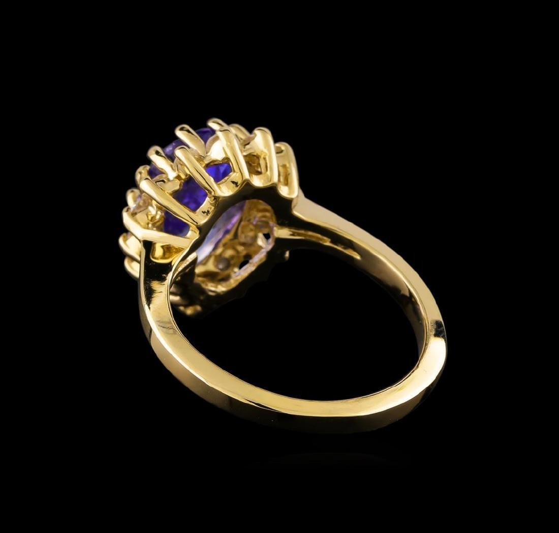 2.68 ctw Tanzanite and Diamond Ring - 14KT Yellow Gold - 3