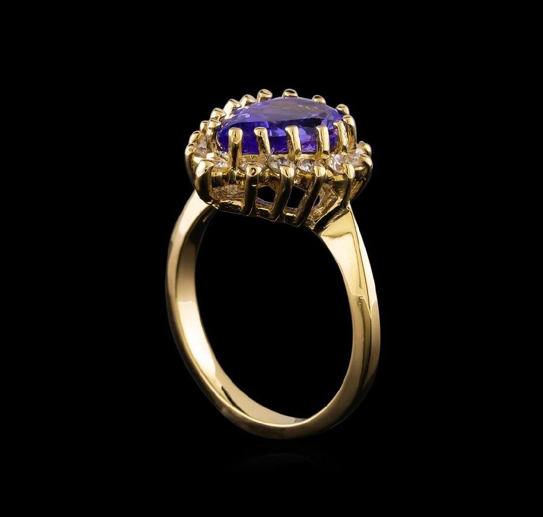 2.68 ctw Tanzanite and Diamond Ring - 14KT Yellow Gold - 4